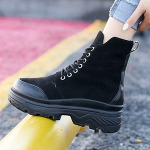 Winter Women Motorcycle Boots High Top Sneakers Women Snow Boots Lace-up Ankle Winter Shoes Woman Botas Mujer1