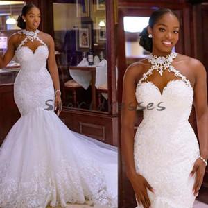Black Girls Sirena Abiti da sposa Abiti africani Halter Collo Appliques Pizzo Chiesa Abito da sposa 2021 Plus Size Paese Spiaggia Sexy Robe de Mariee
