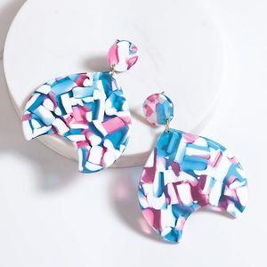 Dangle & Chandelier Trendy Elegant Sweet Floral Drop Earrings Multicolour For Women Big Acrylic Colorful Boho Ear Jewelry Boucle D'oreille