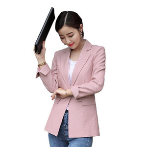 Lenshin Soft and Comfortable High-quality Strip Jacket with Pocket Office Lady Casual Style Blazer Women Wear Single Button Coat