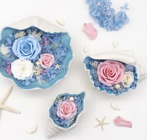 Eternal Flower Conch Decoration Ornamenti per la decorazione della casa per i regali di compleanno delle donne Produzione e lavorazione personalizzate del regalo Eternal Flower