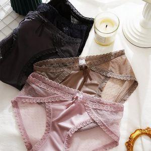 Luxury Ultra-Thin Gauze Lace Underwear Female Medium Waist Antibacterial Pure Cotton Rise Sexy Seemless Briefs Large Size