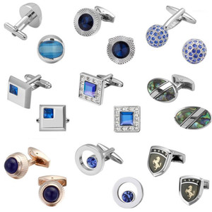 Lüks Kristal Mavi Kol Düğmeleri Kaliteli Düğün Erkekler Kol Düğmeleri Kristal Kare Yuvarlak Altın Gümüş Lüks Vintage Weddin1