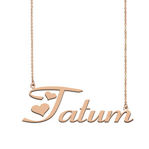 Tatum Name Necklace Custom Nameplate Pendant for Women Girls Birthday Gift Kids Best Friends Jewelry 18k Gold Plated Stainless Steel