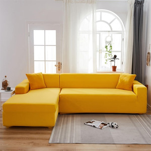 1 2 pieces Set Geometric Couch Elastic for Living Room Pets Corner L Shaped Chaise Longue Sofa Cover LJ201216
