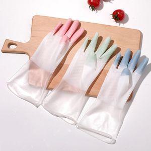 Espessamento de lavagem de lavagem Lavagem Luva Luva Feminina Luvas de Luvas Plásticas Plásticas Two-color Waterproof Modern Cozinha Cleaner Glove YL144