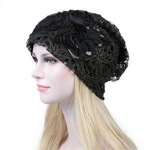 Frauen-Dame-elegante Blumenspitze Baggy Kopf Kappebeanie Cancer Hat Head Wear