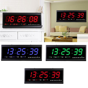 Digital Wall Clock Big LED Time Calendar Temperature Desk Table EU Plug