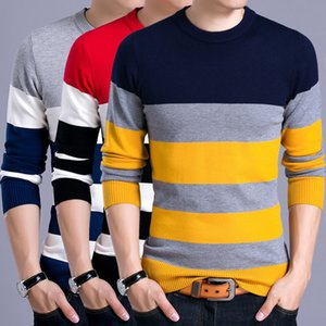 YDTTOM PULLOVER Homme Nouveau Mode Rouge Black Sweater Spring Spring Automne O-Cou Hommes Pulls de laine Slimfit Shirt Chemise