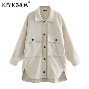 KPYTOMOA Women Fashion Pockets Oversized Asymmetric Jackets Coat Vintage Long Sleeve Button-up Female Outerwear Chic Tops 201021