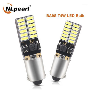 NLpearl 2x Signal Lamp BA9S T11 T4W LED Lamps 12V 24SMD 4014 Chips BA9S LED Car License Plate light Interior Reading Dome Lights1