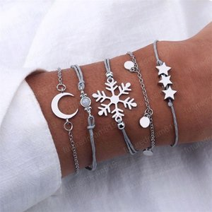 5Pcs Set Personality Snowflake Star Moon Round Pendant Silver-Plated Leather Chain Bracelet Set Women Fashion Party Jewelry