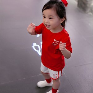 Girls wear youth sunshine smiley face print real sports leisure football shirt shorts suit