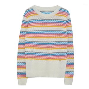 Designer Brand Knitted Sweater for Women Rainbow Stripes Loose Knitted Wool Pullovers Sweater1
