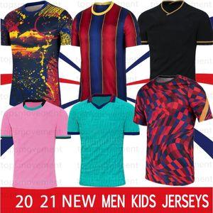 10 Messi 20 21 Maillots de Football Shirt 축구 유니폼 Griezmann F. De Jong Pique Suarez Dembele Coutinho Men Kids Kit