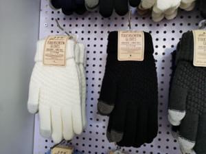Handschuhe Strickwolle Man Frauen-Winter-Warmhalte verdicken Handschuhe stricken Wolle Vollfinger Touchscreen einen.Kreislauf.durchmachenhandschuh Außen 2ST ein Paar 2020