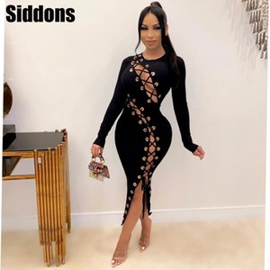 Women Long Sleeve Knitted Lace Up Hollow Out Dresses Sexy Club Gigi Laced Midi Dresses Club Party Maxi Dress