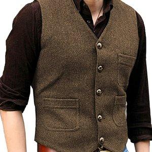 Men's Brown Coat Formal V Neck Wool Herringbone Tweed Casual Waistcoat Formal Business Vest Groomman For Wedding Green Black 201021