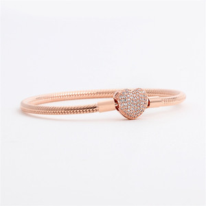 Lüks Moda 18 K Gül Altın CZ Elmas Kalp Bilezikler Orijinal Kutusu için Pandora 925 Gümüş Pürüzsüz Yılan Zincir Bilezik 55 M2