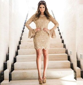 Full Lace Short Mini Cocktail Dresses Long Sleeves Special Occasion Party Gowns Zipper Back Cheap Bride Vestidos De Novia
