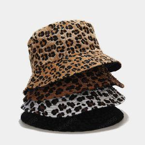 Осень Зима Leopard Bucket Hat Женщина Девушка Открытый моды Теплые Двухсторонний Рыбак Hat Боб Lady шерстяного Basin Cap Panama