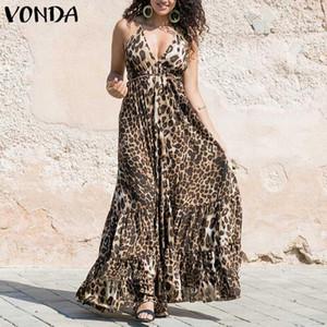 VONDA Mulheres Sexy Vestido Leopard 2020 Swings Verão Spaghetti Strap Ruffle Maxi vestido longo Plus Size mangas Partido Vestido 5XL