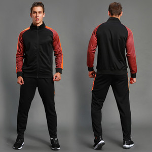 2pcs Set Men's Soccer Sportswear Tracksuit Jacket Football Training Suit Autumn Winter Spring Long Sleeve Zipper Top and Pants