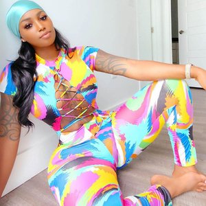 Tide Brand Print Women's Tracksuits Fashion Casual Women Onesies Jumpsuits Girls Street Hip Hop Rompers Clothes