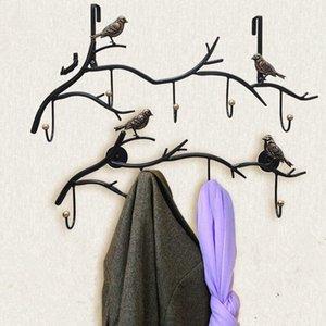 3/4/5/6 Hooks Retro Metal Wall Decoração do pássaro Hooks criativa pendurar roupas Chave Titulares de armazenamento multifunções Banho Racks pYlB #