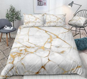 Marble Bedding Set White Gold Duvet Cover Set Marble Abstract Art Design Boys Girls Home Textiles King Quilt Cover 3PCS Dropship 1012
