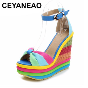 CEYANEAOsandals platform sandals wedge sandals summer Bohemian Color block high heels with ankle strap sandal woman braided 201021