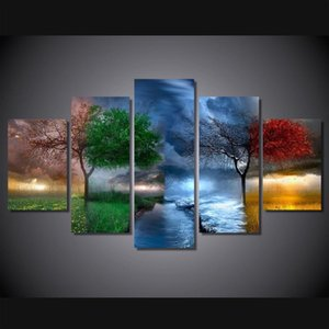 Art Modular Poster Wall Frame HD Printed Canvas 5 Panel Four Seasons Trees Landscape Living Room Pictures Home Decor Painting