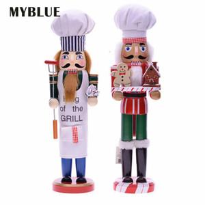 MyBlue 35cm Europa Vintage Chef Estátua Nutcracker Escultura Figurine Dola Dola Ornamentos Casa Decoração Acessórios 201277