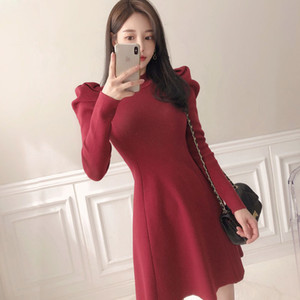 Winter sweater dress one piece ladies korea crew neck long Sleeve warm Sexy party mini knitted Dresses for women A1111