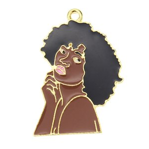 Fashion Style Alloy Enamel Black Girl Pendant Charms Gold Plated Pendant Charm For Women Men Gift