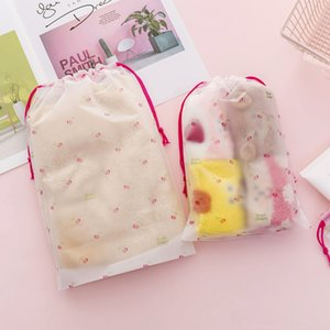 Transparent travel storage bag home portable drawstring pocket shoes socks clothes and underwear bag large and small