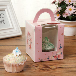 Single Cupcake Boxes With Clear Window Handle Portable Macaron Box Mousse Cake Snack Boxes Paper Package Box Birthday Party Supply PPD3794