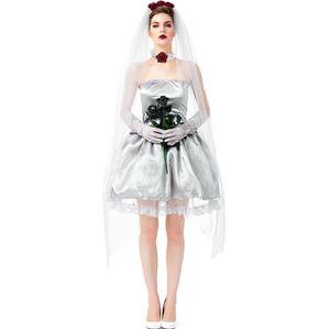 Women kids ghost bride dress halloween masquerade cosplay costume zombie sexy fancy dress set include veil necklce ring gloves dress