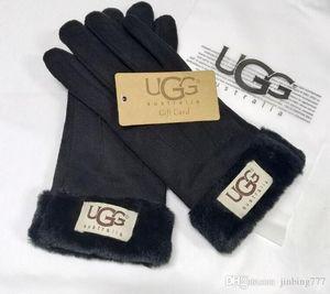 Kürk Eldiven Unisex Pu Deri Kadınlar Five Fingers Eldiven ile Tasarımcılar Eldivenler luxurys Handwear Kış Mat Deri 3 Renk Marka Toptan