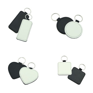 Sublimation Blank Keychain Heart Round Square Rectangle Heat Transfer Single Printing Keychain DIY Craft Keychains Gift