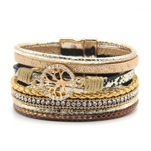 Wholesale- Hot Fashion Crystal Wide Magnetic Leather bracelets & bangles Multilayer Bracelets Jewelry for Women Men Gift1