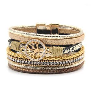 Wholesale- Hot Fashion Crystal Wide Magnetic Leather bracelets & bangles Multilayer Bracelets Jewelry for Women Men Gift1