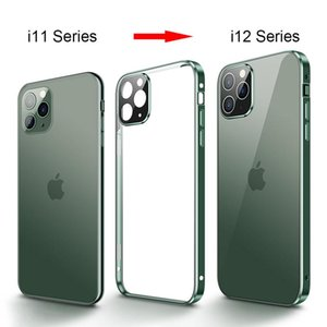 Square Edge Metal Bumper Double Sided Glass Case For Iphone 12 Mini Pro Max X Xr Xs Max Luxury Magnetic Full H bbyabZ
