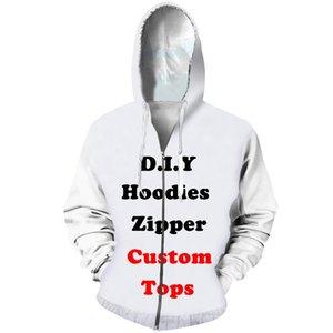 CJLM Diy Özel Tasarım Womens Giyim 3D Print Fermuar Sweatshirt Kapüşonlular Drop Shipping Toptancılar Tedarikçiler Drop Gönderen 201.020