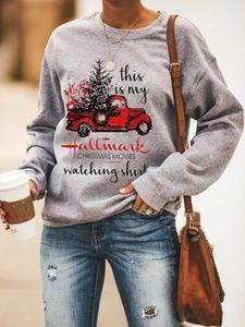 Christmas Movies Watching Print Women Sweatshirt Autumn 2020 O Neck Long Sleeve Pullover Casual Sweatshirts Fashion Girl Clothed