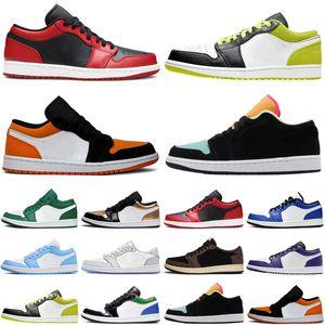 moda satinadoJordánRetro 1 1S Bajo Aire Jumpman Hombres Mujeres Zapatos de baloncesto Corte Púrpura UNC para hombre Entrenadores para mujer Zapatillas deportivas