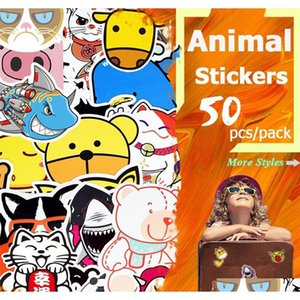 50 Pcs Waterproof Cute Animal Stickers Toys For Kids To Diy Home Decoration Tablets Snowboard Car Skateboard Party sqcPjO abc2007