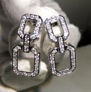 Designer brillant Boucles d'oreilles longues géométrique simple rectangle Dangle Boucles d'oreilles avec CZ diamant pierre pour Bijoux femmes