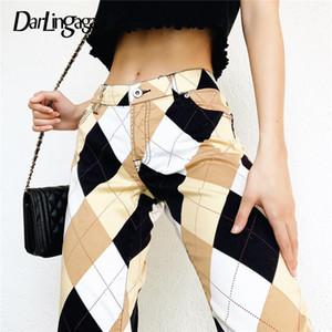 Calças de cintura alta Darlingaga Argyle Plaid Y2K Vintage para as Mulheres Steetwear reta longa Calças Checkered 90S Harajuku Calças Novas