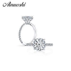 Anuoshi 3 каратного круглая обручальное кольцо стерлингового серебра 925 стерлингового серебра для женщин Anel Aneis Anillos для женщин Высокая настройка Bridal Bands Y200106